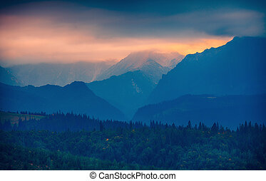 Sunset over Tatras mountain silhouette, Slovakia