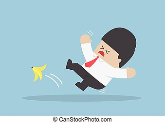 Businessman slipping on a banana peel, VECTOR, EPS10
