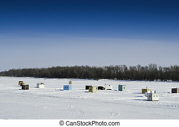 Ice Fishing Sheds - Scattered shacks used for ice fishing...