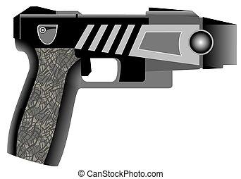 Stun gun.eps - Stun gun - radiating a cool glow. Close up of...