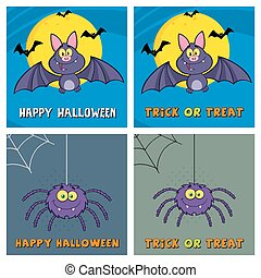 Halloween Greeting Cards Collection - Four Halloween...
