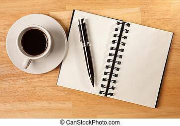 Blank Spiral Note Pad, Cup and Pen on Wood - Blank Spiral...