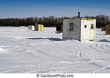 Ice Fishing Huts - Scattered shacks used for ice fishing...