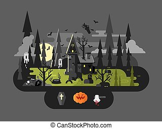 Halloween house at night Horror monster, ax and witch, flat...