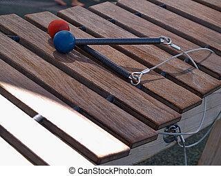 xilofone, com, mallets,