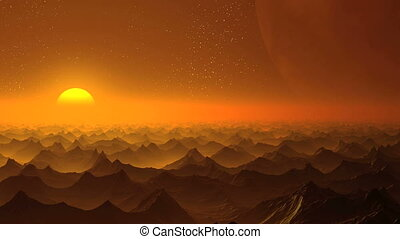 Sunrise on an alien planet and a hu - Hilly stone desert...