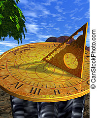 globe sundial illustration with sky background