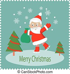 Merry Christmas greeting card with happy Santa