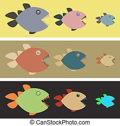 Background with colored piranhas - Three lines with tree...