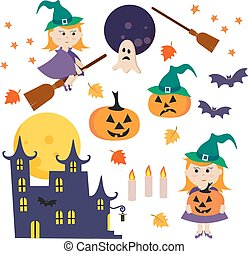 Vector illustration with collection of Halloween icons