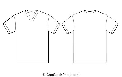 White V-Neck Shirt Design Template For Men - Vector...