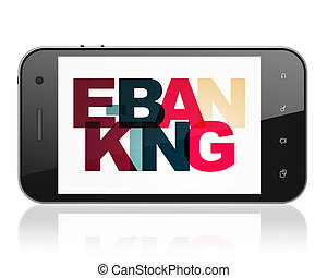 Banking concept: Smartphone with E-Banking on display -...