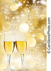 Celebrating with champagne - Glasses with champagne against...