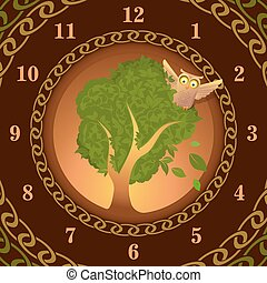 Watch of owl on oak, vector illustration for Your design,...