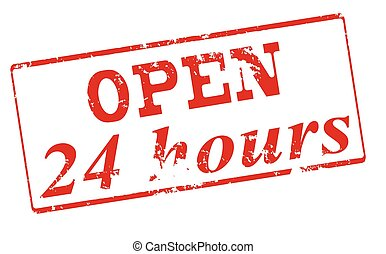 Open twenty four hours - Rubber stamp with text open twenty...