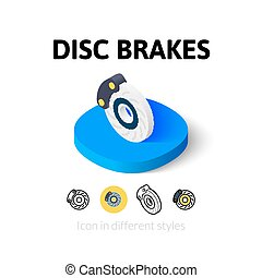Disc brakes icon in different style - Disc brakes icon,...