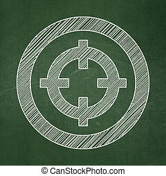 Business concept: Target on chalkboard background