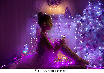 Girl Child Angel Fairy Star, Christmas Tree Lights, Kid Holiday Night