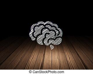Health concept: Brain in grunge dark room