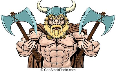 Mean Viking Axe Warrior - An illustration of a tough looking...
