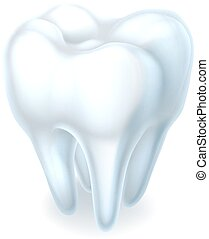 Tooth icon - A healthy shiny white 3d tooth dental...