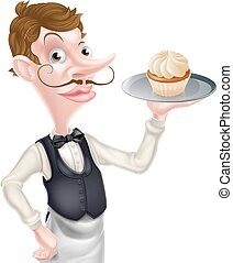 Cartoon Cupcake Waiter - An illustration of a cartoon waiter...