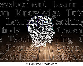 Education concept: Head With Finance Symbol in grunge dark room