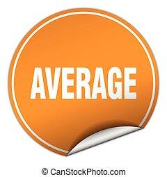 average round orange sticker isolated on white