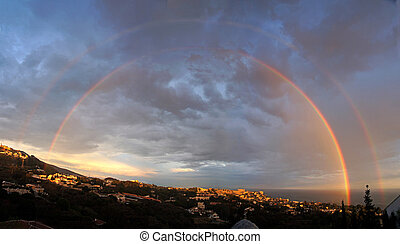 Complete double rainbow - Andalucia in Spain: a panoramic...