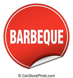 barbeque round red sticker isolated on white