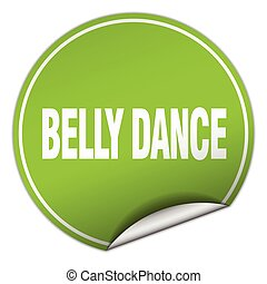 belly dance round green sticker isolated on white