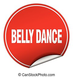 belly dance round red sticker isolated on white
