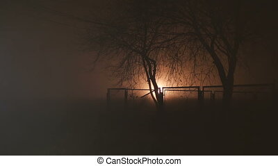 Trees behind a fence at night and light effect - Trees...