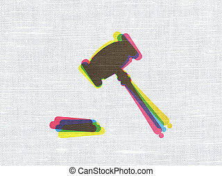 Law concept: Gavel on fabric texture background