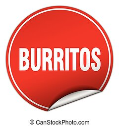burritos round red sticker isolated on white