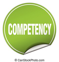 competency round green sticker isolated on white