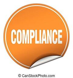 compliance round orange sticker isolated on white