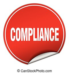 compliance round red sticker isolated on white