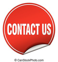 contact us round red sticker isolated on white