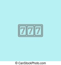Simple icon 777. - Fortune 777. Simple outline flat vector...