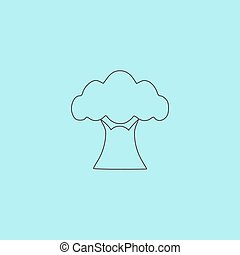 Baobab tree icon - Baobab tree. Simple outline flat vector...