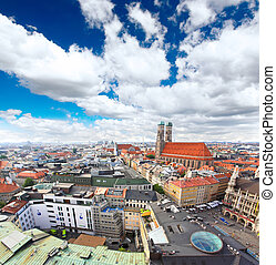 The aerial view of Munich city center from the tower of the...