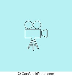 Video camera icon vector - Video film camera Simple outline...