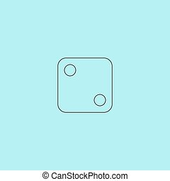 One dices - side with 2 Simple outline flat vector icon...