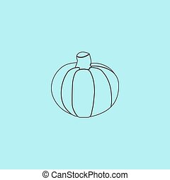 Pumpkin icon - Pumpkin Simple outline flat vector icon...