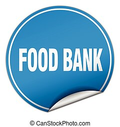 food bank round blue sticker isolated on white