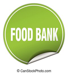 food bank round green sticker isolated on white