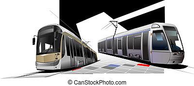 Miasto, przewóz, dwa, tramwaje, Wektor, Ilustracja
