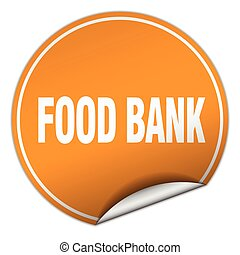 food bank round orange sticker isolated on white