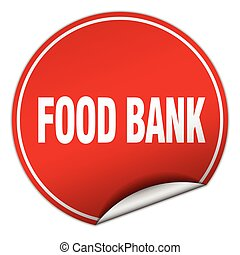 food bank round red sticker isolated on white